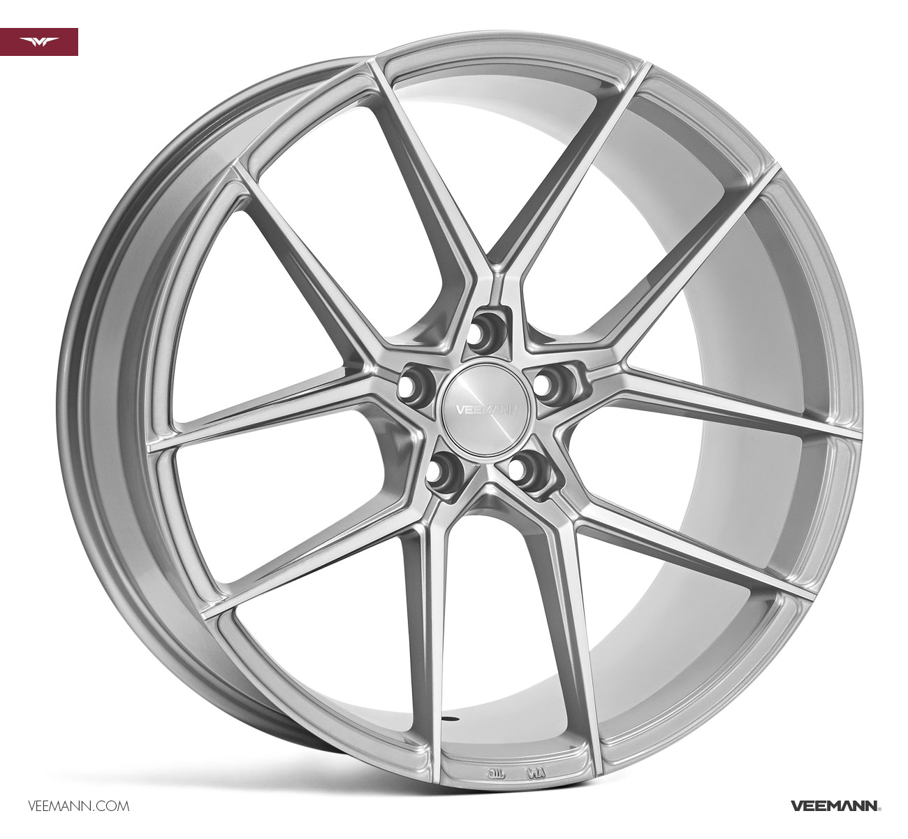"NEW 19"" VEEMANN V-FS39 ALLOY WHEELS IN SILVER POL WITH WIDER 9.5"" REAR"